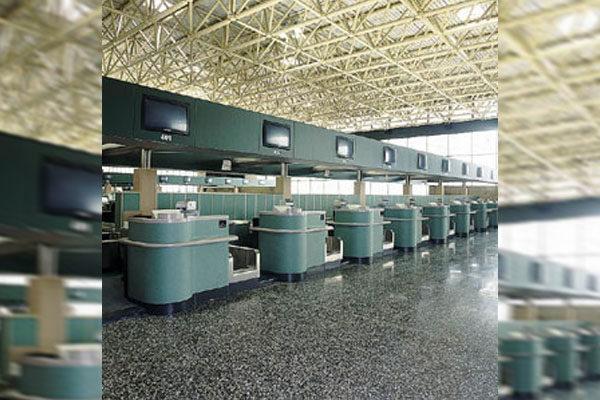 Aeroporto Malpensa - Arredamento Allestimento Banco Check in Corian