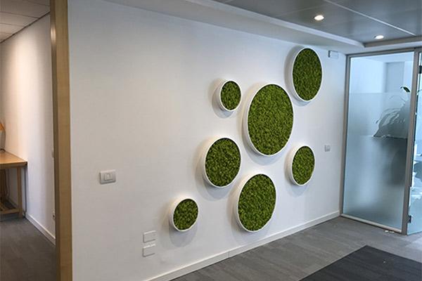 Design Ufficio Parete Corian Verde Verticale 1
